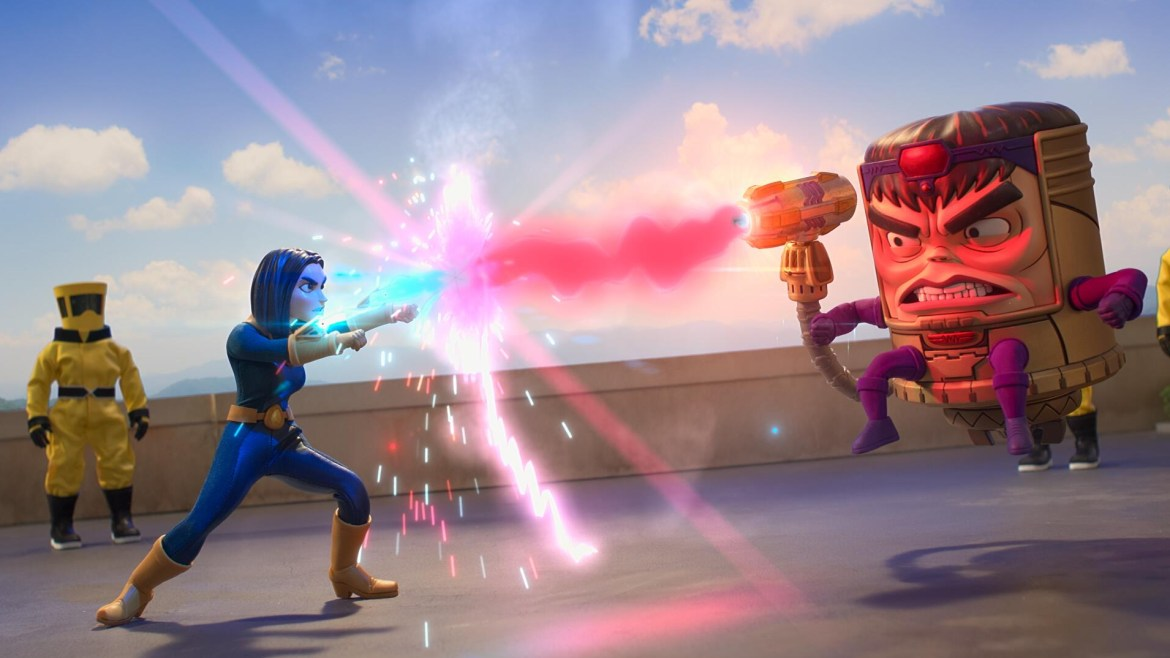 M.O.D.O.K. fighting his AIM second in command with laser as seen in the new Marvel Hulu series created by Jordan Blum.