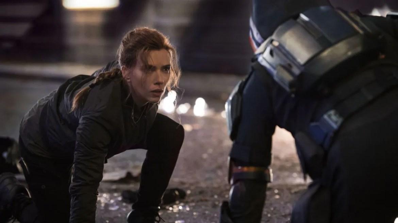 Scarlett Johansson as Natasha Romanoff facing off against the Taskmaster as seen in the Marvel Studios film BLACK WIDOW.