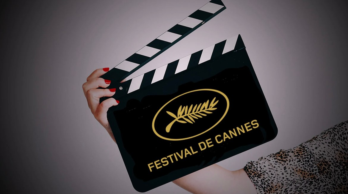 The logo of the 2021 Cannes film festival on a film slate.