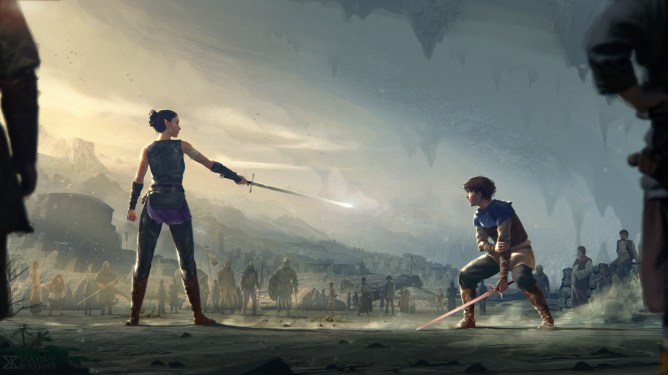 Fan-made concept art showing two young heroes sword training created for the campaign to get Disney to remake ERAGON on their streaming service Disney+. #EragonRemake