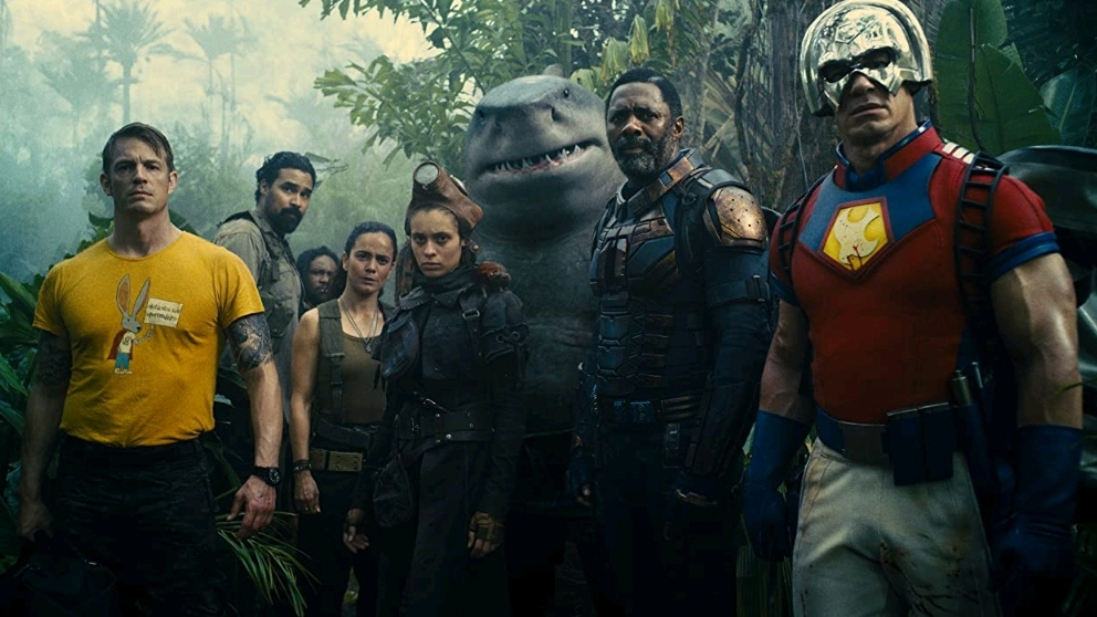 Rick Flag, Ratcatcher II, King Shark, Bloodsport, and Peacemaker go on a mission in the jungle as seen in THE SUICIDE SQUAD directed by James Gunn.