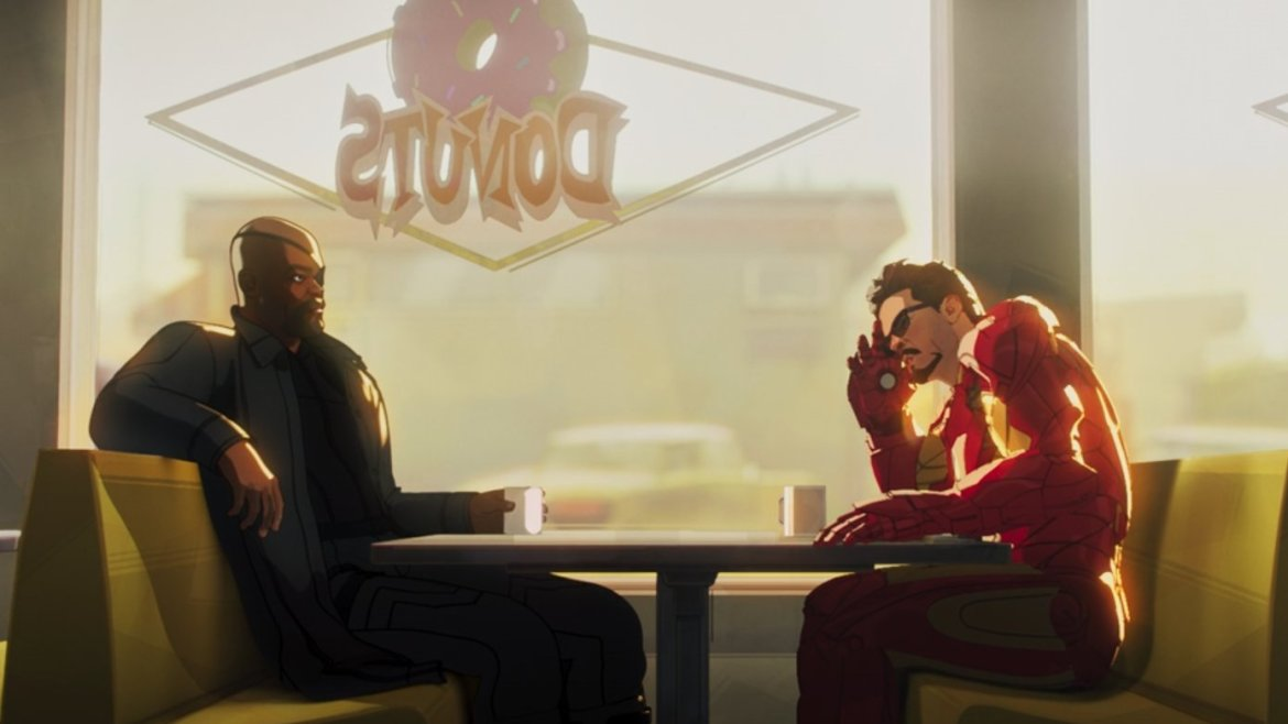 Nick Fury and Tony Stark sitting together at the donut shop from Iron Man 2 but this time in the Fury's Big Week episode of Marvel's WHAT IF...? on Disney+