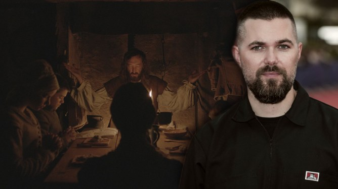 Ralph Ineson as seen in THE WITCH praying with his cursed family collaged next to director Robert Eggers of the A24 film.