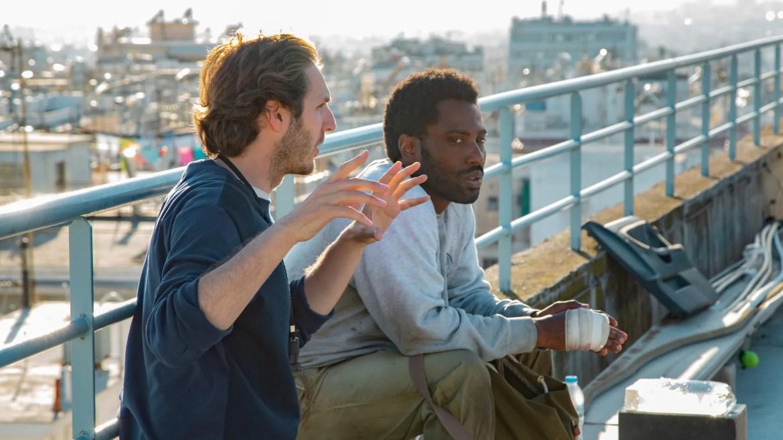 Director Ferdinando Cito Filomarino and lead star John David Washington on location in Greece on the set of the new Netflix thriller BECKETT.