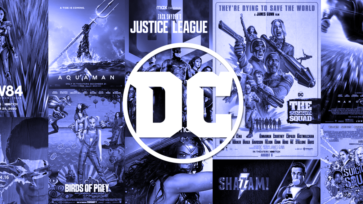A blue collage of every poster from the main DCEU franchise, including THE SUICIDE SQUAD, BIRDS OF PREY, and ZACK SNYDER'S JUSTICE LEAGUE, with the DC comics logo front and center for our official DCEU ranking from worst to best.