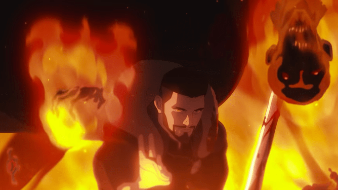 Vesemir voiced by Theo James using dark magic to conjure fire as seen in the anime-inspired film THE WITCHER: NIGHTMARE OF THE WOLF.