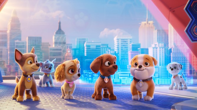 The dogs of Paw Patrol in Paw Patrol the movie starring Iain Armitage