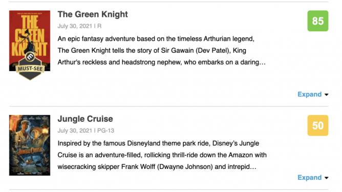 The positive Metacritic score of A24's THE GREEN KNIGHT compared side by side to the neutral score of Disney's JUNGLE CRUISE.