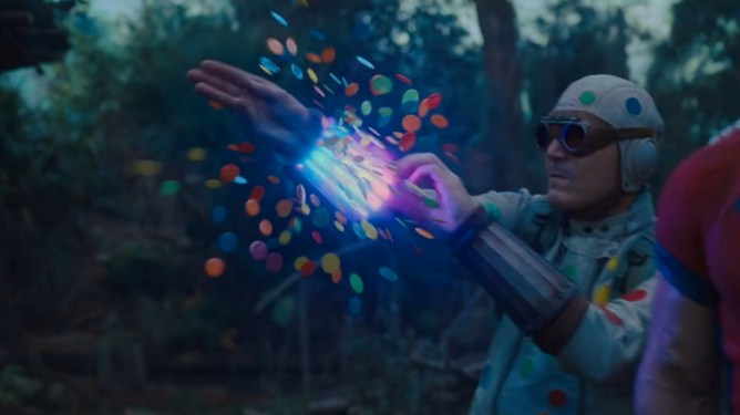 David Dastmalchian as Polka-Dot Man unleashes lethal and colorful polka-dots from his wrist as seen in THE SUICIDE SQUAD directed by James Gunn.