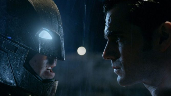 Ben Affleck as an armoed Batman faces off against Henry Cavill as Superman as seen in BATMAN V SUPERMAN: DAWN OF JUSTICE, coming in the ninth spot in our DCEU ranking from worst to best.
