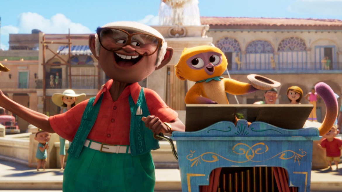 Andres voiced by Juan De Marcos Gonzalez and Vivo the talking Kinkajou voiced by Lin-Manuel Miranda as seen in the first Sony animated musical VIVO, coming to Netflix August 2021.