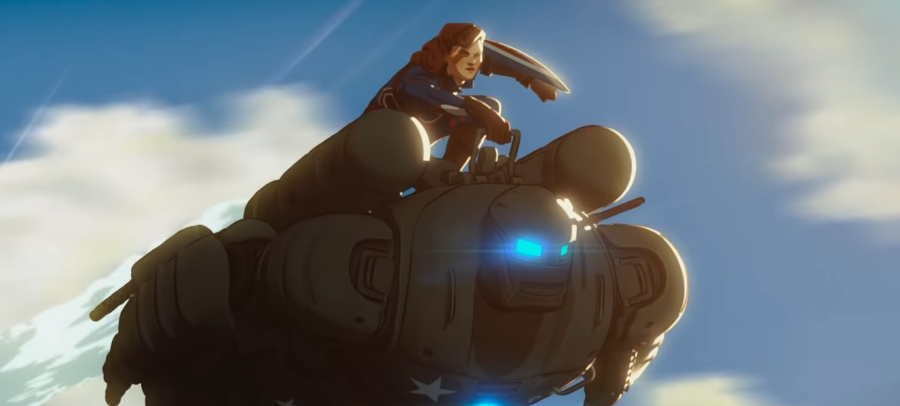 Captain Carter voiced by Hayley Atwell flying with the Hydra Stomper in the sky with Steve Rogers inside as seen in the first animated MCU series on Disney+ WHAT IF...?
