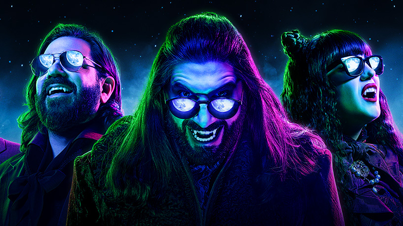 The neon season 3 poster of WHAT WE DO IN THE SHADOWS coming to FX on Hulu September 2021.