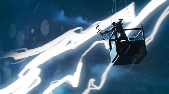 Hawkeye preparing to shoot an arrow in the sky as lighting strikes behind him through a thunderstorm as seen in the animation series WHAT IF...? on Disney+