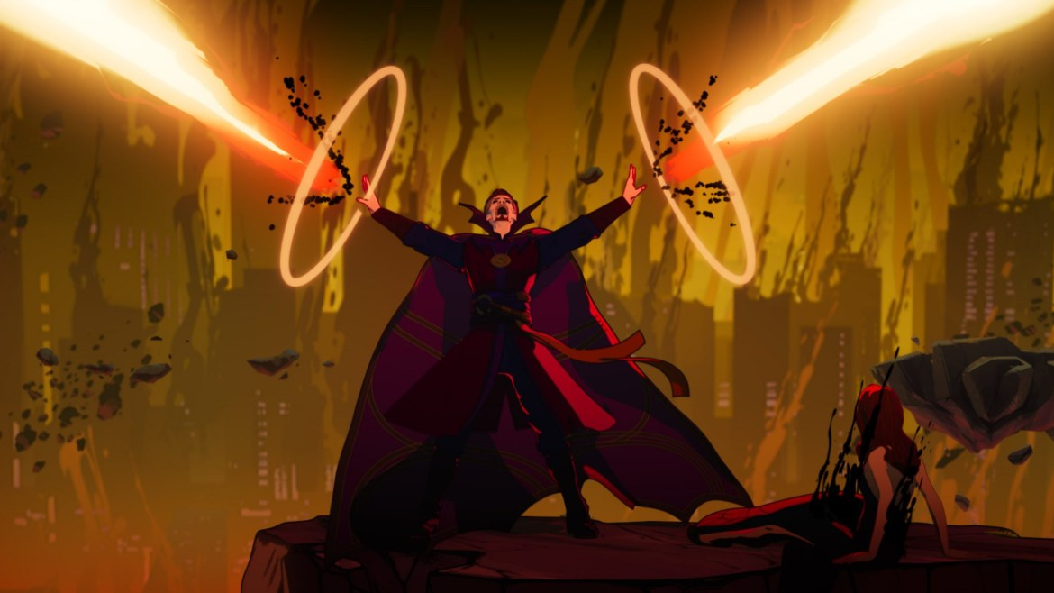 Evil Doctor Strange Supreme shooting beams of dark energy into the multiverse next to Christine Palmer as seen in WHAT IF...? scored by composer Laura Karpman on Disney+