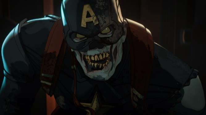 Zombie Captain America looking hungry and ready for his next meal as seen in the animation series WHAT IF...? on Disney+