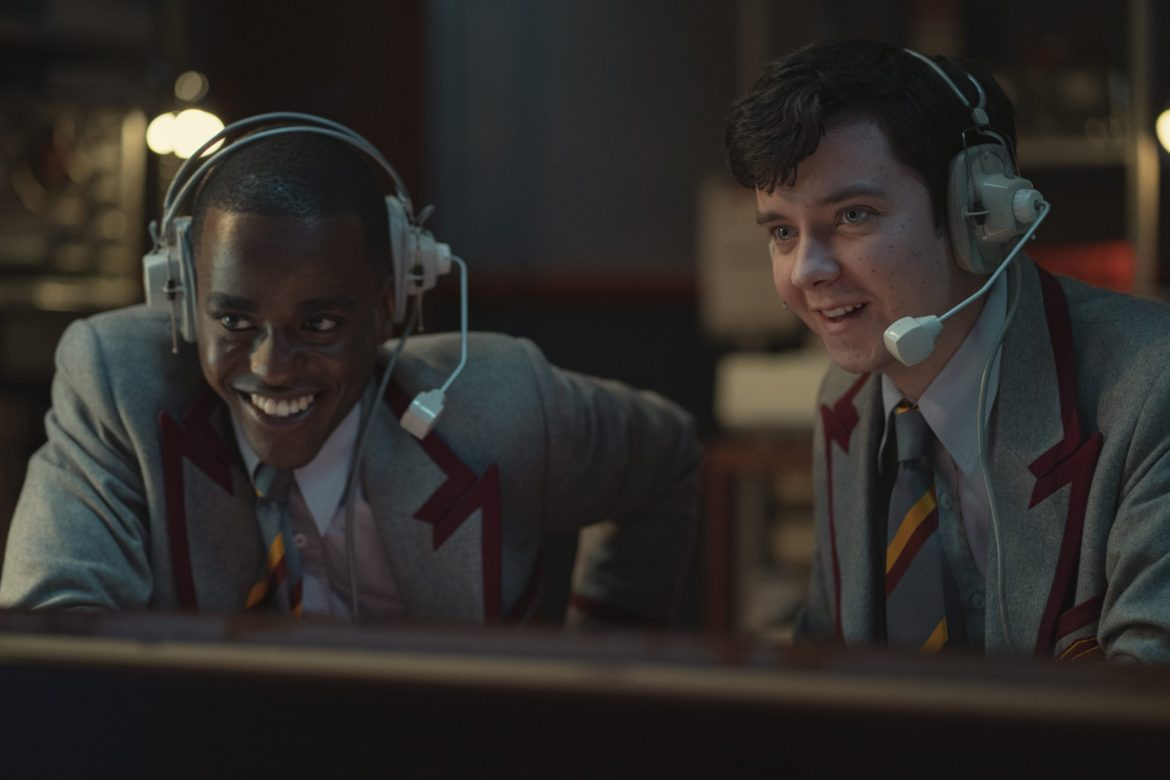 Ncuti Gatwa and Asa Butterfield in the new school uniforms for SEX EDUCATION season 3 on Netflix.