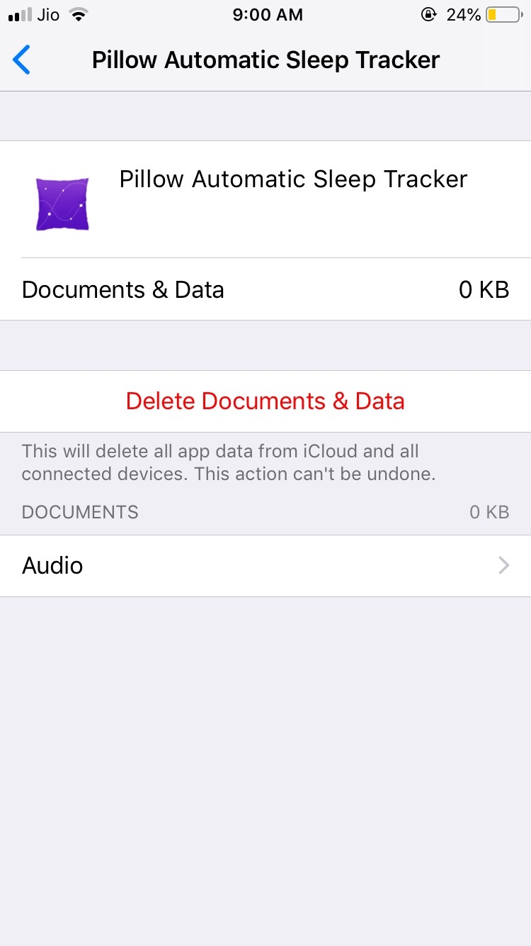 pillow app data not deleted from icloud