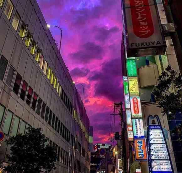 Tokyo's skyline turns pink and purple colors before typhoon Hagibis