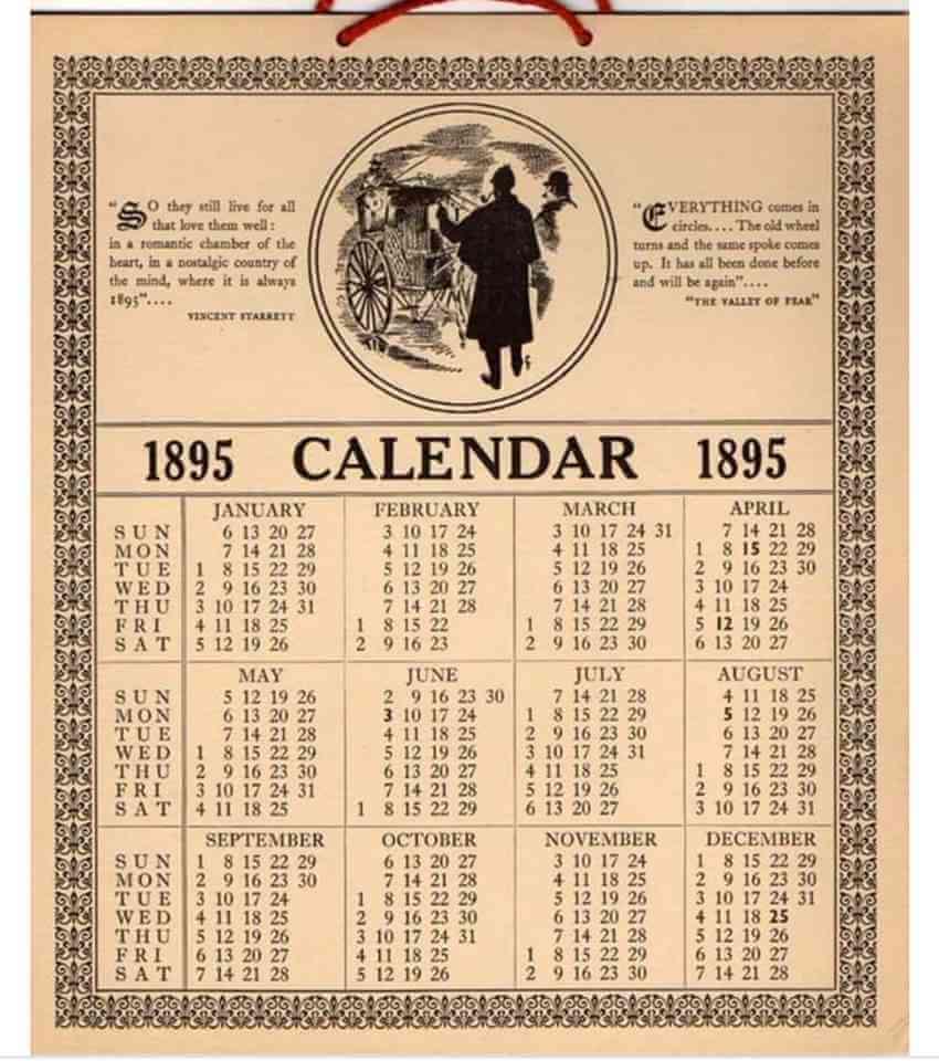 A calendar from 1895
