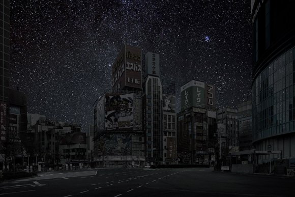 Tokyo at night under stars