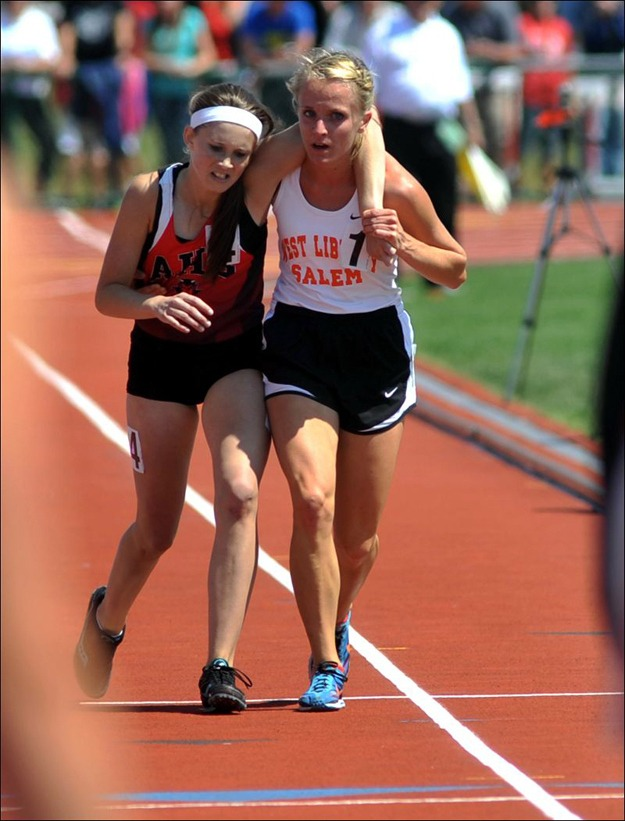 The moment in which this Ohio athlete stopped to help an injured competitor across the finish line during a track meet