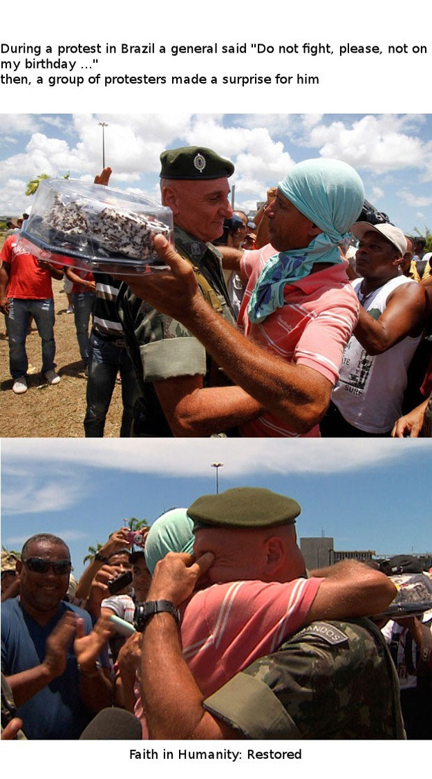 This exchange between a protester and a soldier during a protest in Brazil