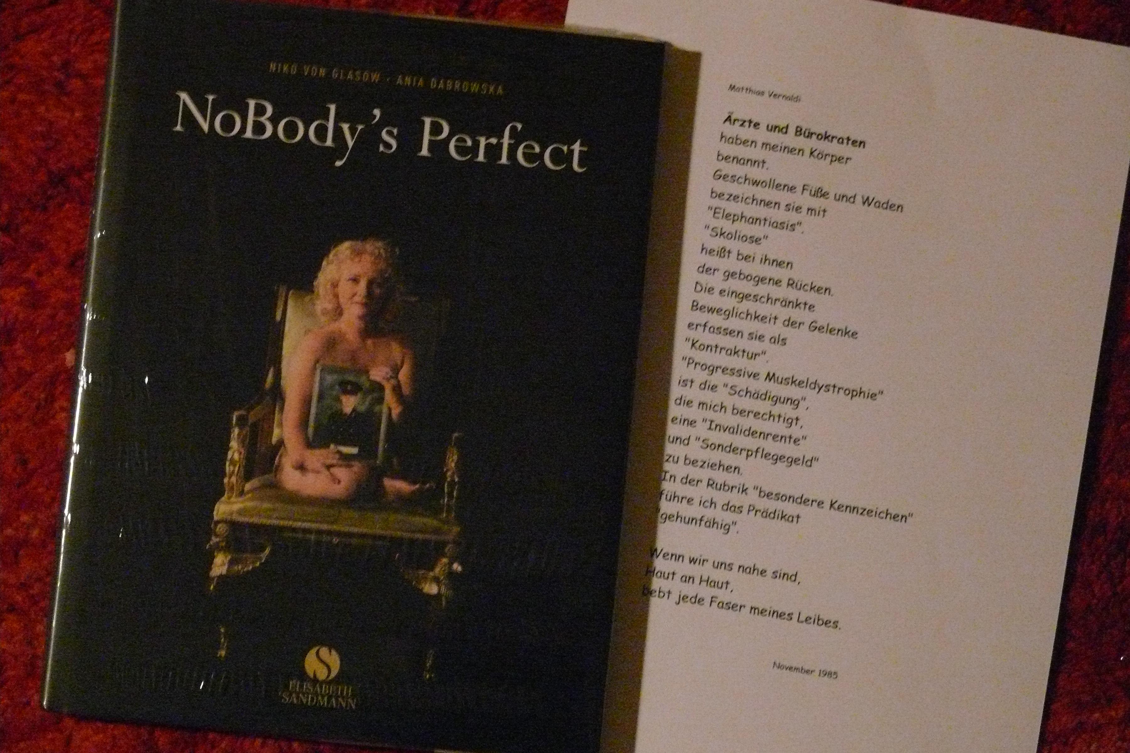 Buch zum Film NoBody's Perfect und Gedicht von Matthias Vernaldi