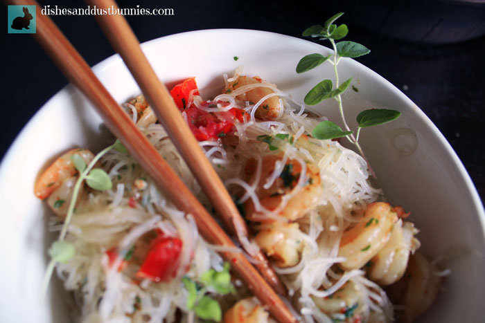 Easy Garlic & Herb Shrimp with Rice Noodles
