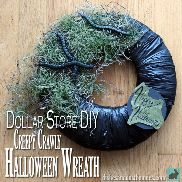 Dollar Store DIY Creepy Crawly Halloween Wreath