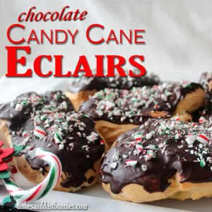 Chocolate Candy Cane Eclairs