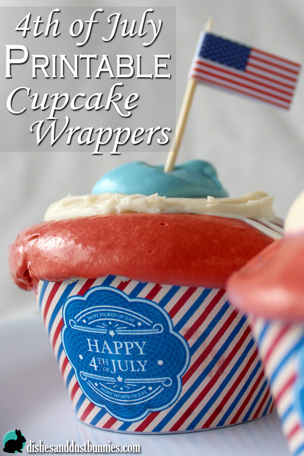image relating to Free Printable Cupcake Wrappers titled 4th of July Cost-free Printable Cupcake Wrappers - Dishes Dirt