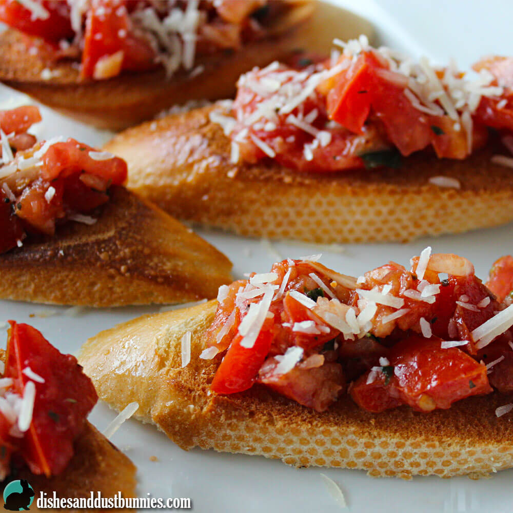 Tomato & Basil Bruschetta from Dishes & Dust Bunnies