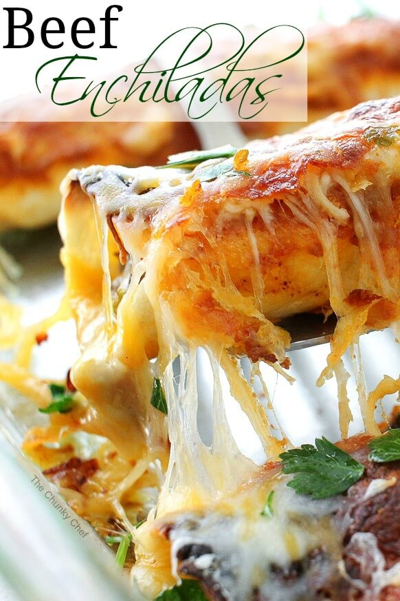 Beef Enchiladas with Homemade Enchilada Sauce from The Chunky Chef