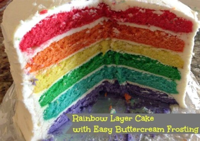 Rainbow Layer Cake with Easy Buttercream Frosting from Live Love Texas