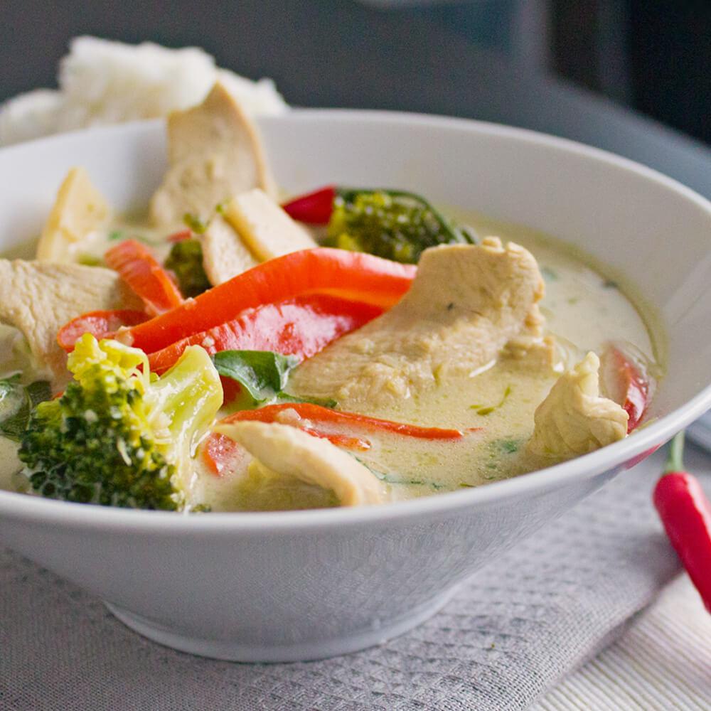 Thai Green Curry Chicken from dishesanddustbunnies.com