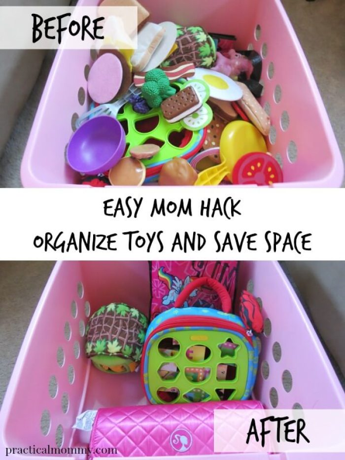 Easy Mom Hack to Organize Toys and Save Space from Practical Mommy