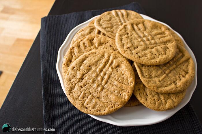 Flourless Peanut Butter Cookies from dishesanddustbunnies.com