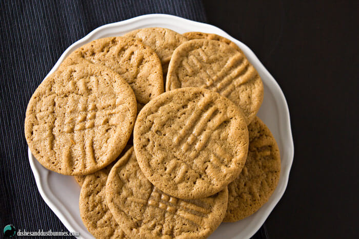 Flourless Peanut Butter Cookies from dishesanddustbunnies.com
