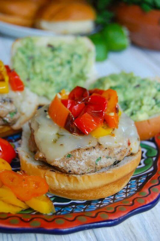 Sweet And Spicy Turkey Burgers with Guacamole from A Cedar Spoon