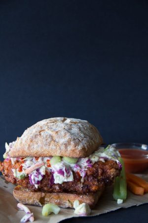 Buffalo Chicken Sandwich with Gorgonzola Slaw from Say Grace