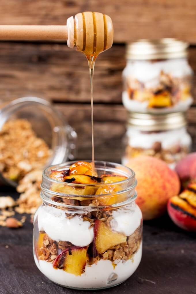 Grilled Peach Breakfast Parfait from Kitchen Sanctuary