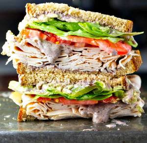 Healthy Turkey Sandwich with Black Bean Spread from The Wicked Noodle