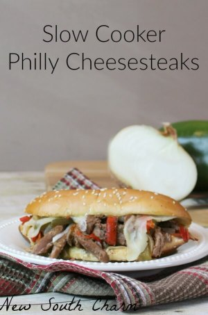Slow Cooker Philly Cheesesteaks from New South Charm