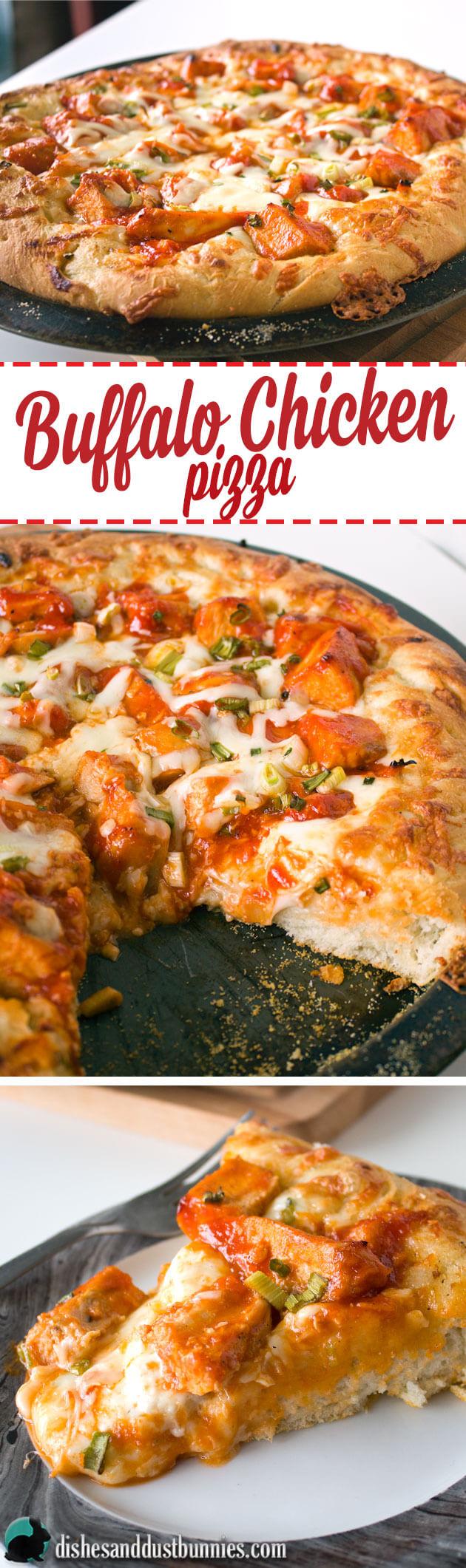 Buffalo Chicken Pizza from dishesanddustbunnies.com