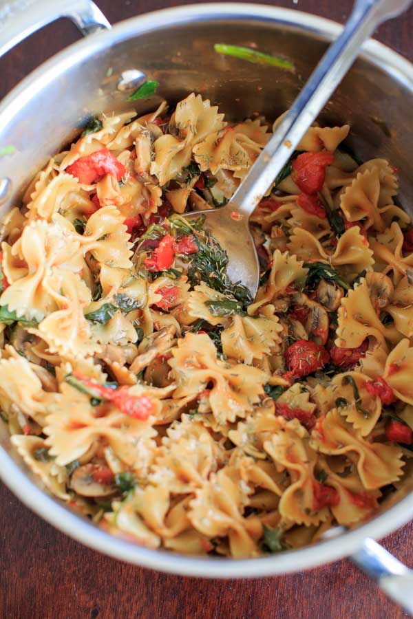 One Pot Spinach and Mushroom Bowtie Pasta from Trial & Eater