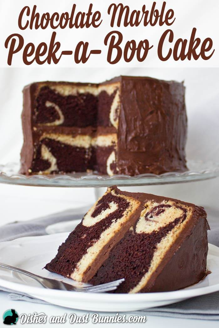 "Chocolate Marble ""Peek-a-boo"" Cake from dishesanddustbunnies.com"