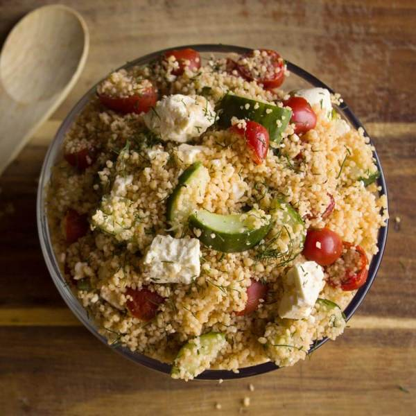 Couscous Salad with Tomatoes, Cucumbers and Feta