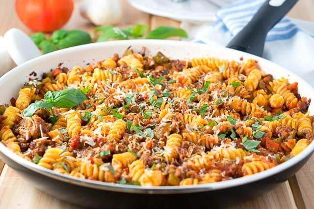 Italian Sausage and Peppers Pasta Skillet from Delicious Meets Healthy
