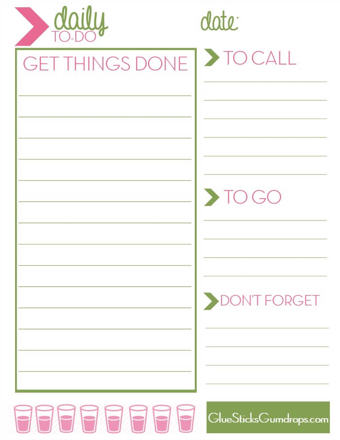 Free Printable Daily To-Do List from Glue Sticks & Gum Drops